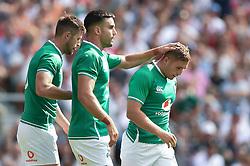 Jordan Larmour of Ireland is congratulated on a first half try - Mandatory byline: Patrick Khachfe/JMP - 07966 386802 - 24/08/2019 - RUGBY UNION - Twickenham Stadium - London, England - England v Ireland - Quilter International