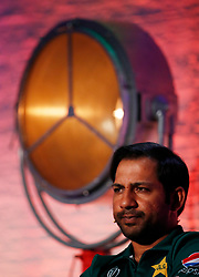 Pakistan's Sarfaraz Ahmed during the Cricket World Cup captain's launch event at The Film Shed, London.