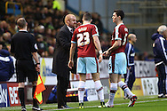 Burnley Manager Sean Dyche (l) instructs his players. Skybet football league Championship match, Burnley v Ipswich Town at Turf Moor in Burnley, Lancs on Saturday 2nd January 2016.<br /> pic by Chris Stading, Andrew Orchard sports photography.