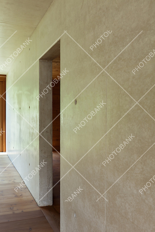 new apartment in cement and wood,view concrete wall