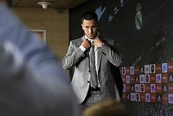 June 14, 2019 - Madrid, Spain - Belgian footballer Eden Hazard holds a press conference following his official presentation as new player of the Real Madrid CF at the Santiago Bernabeu stadium in Madrid on June 13, 2019. Spain  (Credit Image: © Oscar Gonzalez/NurPhoto via ZUMA Press)