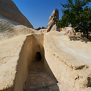 Underground passage leading to the Apple church in Goreme Open Air Museum, Cappadocia, Turkey