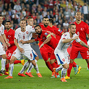 Turkey's Arda Turan (C),Umut Bulut (2ndR and Czech Republic Borek Dockal (5ndL) during their UEFA Euro 2016 qualification Group A soccer match Turkey betwen Czech Republic at Sukru Saracoglu stadium in Istanbul October 10, 2014. Photo by Aykut AKICI/TURKPIX