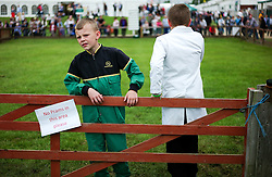 © Licensed to London News Pictures.14/07/15<br /> Harrogate, UK. <br /> <br /> Two young boys control the gate into one of the pig arenas on the opening day of the Great Yorkshire Show.  <br /> <br /> England's premier agricultural show opened it's gates today for the start of three days of showcasing the best in British farming and the countryside.<br /> <br /> The event, which attracts over 130,000 visitors each year displays the cream of the country's livestock and offers numerous displays and events giving the chance for visitors to see many different countryside activities.<br /> <br /> Photo credit : Ian Forsyth/LNP