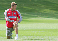 England training session at London Colney 01/09/09<br /> Photo Nicky Hayes Fotosports International<br /> David Beckham in a quiet moment.