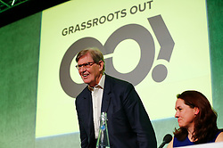 © Licensed to London News Pictures. 19/02/2016. London, UK. Sir WILLAM (BILL) CASH (left) and GO taskforce Director HELEN HARRISON (right) speaking at a Grassroots Out rally at the Queen ElizabethII Centre in London as British prime minister David Cameron continues negotiations of UK membership of the EU. Photo credit: Tolga Akmen/LNP