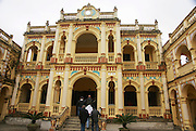 Vietnam, Bac Ha,  facade and inner courtyard of a French colonial style villa, built 1921