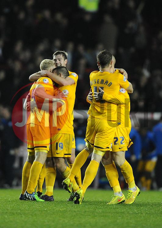 Preston Palyers celebrate on the final whistle  - Photo mandatory by-line: Joe Meredith/JMP - Mobile: 07966 386802 - 22/11/2014 - Sport - Football - Bristol - Ashton Gate - Bristol City v Preston North End - Sky Bet League One