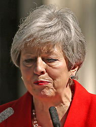 Prime Minister Theresa May showing emotion as she makes a statement outside at 10 Downing Street in London, where she announced she is standing down as Tory party leader on Friday June 7.