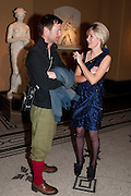 STUART HAGAR; SIGRID WILKINSON, Outset dinner 2011.  Organised by Yana Peel supported by Swarovskito raise funds for the V+A to starts its contemporary design collection. V & A. London. 23 March 2011. -DO NOT ARCHIVE-© Copyright Photograph by Dafydd Jones. 248 Clapham Rd. London SW9 0PZ. Tel 0207 820 0771. www.dafjones.com.
