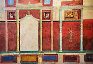 Roman fresco wall decorations of Bedroom D  of the Villa Farnesia, Rome. Museo Nazionale Romano ( National Roman Museum), Rome, Italy.<br /> <br /> This bedroom has a decoration very similar to that of cubiculum B in its arrangement and the use of cinnabar red. At the rear of the alcove three women perform a sacrificial ceremony in a rustic shrine. The walls of the antechamber have scenes of lovers, and most of the other pictures have to do with female life. Here carefully rendered details (attendants, handmaidens, furniture, glass and silver vessels) provide invaluable information on domestic life. There are also Egyptianizing elements, lotus flowers, sphinxes, and exotic landscapes. On the second column of the right wall is the inscription, in Greek, Seleukos made this, presumably the name of a Greek who was one of the artisans. The vaulted ceiling, in pure white stucco, has reliefs of initiation rites into the mysteries, idyllic landscapes with sacred elements, and combats between fantastic animals. The decorative scheme of the two bedrooms owes its inspiration to the deities Aphrodite and Dionysos. A fragment of geometric mosaic in black and white can be attributed to bedroom D on the basis of a contemporary watercolor. .<br /> <br /> If you prefer to buy from our ALAMY PHOTO LIBRARY  Collection visit : https://www.alamy.com/portfolio/paul-williams-funkystock/national-roman-museum-rome-fresco.html<br /> <br /> Visit our ROMAN ART & HISTORIC SITES PHOTO COLLECTIONS for more photos to download or buy as wall art prints https://funkystock.photoshelter.com/gallery-collection/The-Romans-Art-Artefacts-Antiquities-Historic-Sites-Pictures-Images/C0000r2uLJJo9_s0