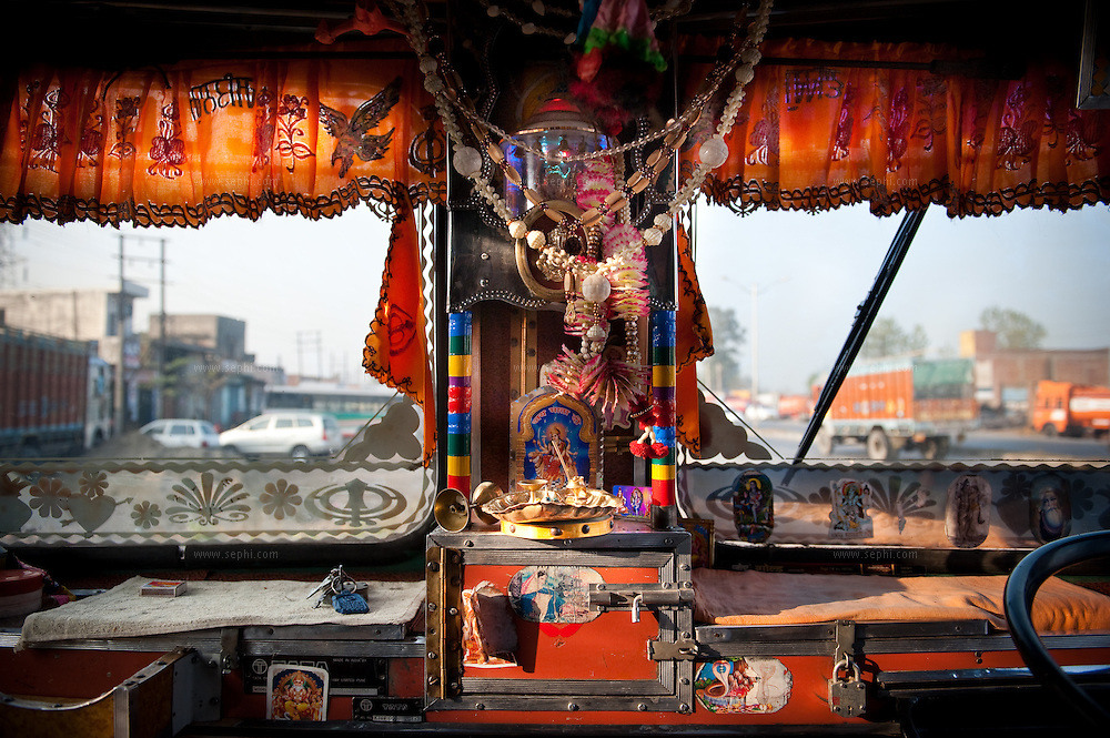 A view of interior of truck in Punjab.