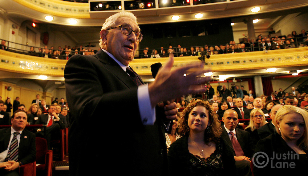"""Former United States Secretary of State Henry Kissinger speaks to Sen. John McCain (R - Arizona), who he is supporting politically, during an event labeled as an """"Exchange of Ideas"""" at a theater in New York, New York on Thursday 08 March 2007. McCain, who has unofficially announced that he is running to be President of the United States, spoke to supporters about issues and took questions from the audience."""