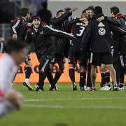 D.C. United players celebrate their win at the final whistle during the New York Red Bulls V D.C. United Major League Soccer, Eastern Conference Semi Final 2nd Leg match at Red Bull Arena, Harrison. New Jersey. USA. 8th November 2012. Photo Tim Clayton