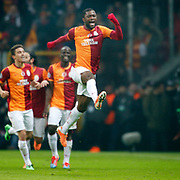 Galatasaray's Aurelien Bayard Chedjou Fongang (C) celebrate his goal during their UEFA Champions League Round of 16 First leg soccer match Galatasaray between Chelsea at the AliSamiYen Spor Kompleksi in Istanbul, Turkey on Wednesday 26 February 2014. Photo by Aykut AKICI/TURKPIX