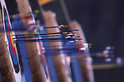 Archery target and arrows.