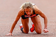 Hayley Carruthers (Great Britain) stumbles before the finish line during the Virgin Money 2019 London Marathon, London, United Kingdom on 28 April 2019.