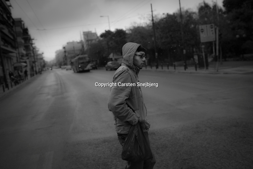 Young migrant in the street of Athen.