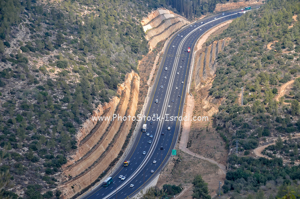 Israel, Judean Mountains, Hakedoshim Forest (Forest of the Martyrs) on the outskirts of Jerusalem it overlooks the Highway to Jerusalem