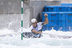 RIO DE JANEIRO, Sept. 29, 2018  Franz Anton of Germany competes during the men's canoe (C1) final at the 2018 ICF Canoe Slalom world championships in Rio de Janeiro, Brazil, on September 29, 2018. Franz Anton won the gold with 97.06 seconds. (Credit Image: © Li Ming/Xinhua via ZUMA Wire)