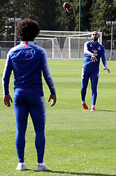 Chelsea's Willian (left) and goalkeeper Willy Caballero take part in various challenges set by William Hill at Chelsea Cobham Training complex.