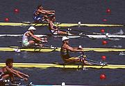 Atlanta, USA. GBR  M1X. Peter HAINING. moves away from the start, 1996 Olympic Rowing Regatta Lake Lanier, Georgia, USA.  [Mandatory Credit Peter Spurrier/ Intersport Images]