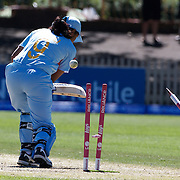 Indian Batter Rumeli Dhar is bowled by Kate Pulford during the match between New Zealand and India in the Super 6 stage of the ICC Women's World Cup Cricket tournament at North Sydney  Oval, Sydney, Australia on March 17, 2009. Photo Tim Clayton