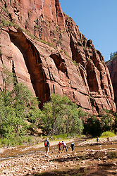 USA Utah, Zion National Park. Temple of Sinawava land form.
