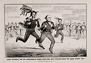 The Great Footrace for the Presidential Purse 1852. Satire on the presidential election of 1852, showing Winfield Scott, Daniel Webster, and Franklin Pierce competing in a footrace before a crowd of onlookers for a $100,000 prize. Nathaniel Currier