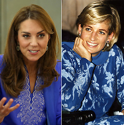 (left to right) File photo dated 15/10/19 of the Duchess of Cambridge wearing a periwinkle blue traditional kurta by local designer Maheen Khan, during a visit to a school in central Islamabad on day two of the royal visit to Pakistan, and file photo dated 23/05/97 of Diana, Princess of Wales, pictured in a royal blue shalwar kameez, during her visit to Lahore, Pakistan. Kate has channelled classic demure elegance on her royal tour of Pakistan, as her blue outfit has evoked memories of Diana???s own visits to Pakistan.