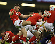 Gareth Davies of Wales in action. Wales v Scotland, NatWest 6 nations 2018 championship match at the Principality Stadium in Cardiff , South Wales on Saturday 3rd February 2018.<br /> pic by Andrew Orchard, Andrew Orchard sports photography