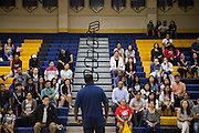 Parents listen to P.E. teachers during Back To School Night at Milpitas High School in Milpitas, California, on August 30, 2016. (Stan Olszewski/SOSKIphoto)