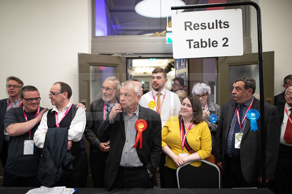 © Licensed to London News Pictures . 02/05/2019. Bolton, UK. Candidates for the Horwich and Blackrod ward and informed of their result . The count for Bolton Council at Bolton Town Hall . The Labour Party are threatened to lose their majority on the council . Local council elections are taking place across the country . Photo credit: Joel Goodman/LNP