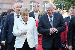 03.10.2015, Frankfurt am Main, GER, Tag der Deutschen Einheit, im Bild Bundeskanzlerin Angela Merkel mit Daumen hoch im Gespraech mit Ministerpraesident Hessen Volker Bouffier // during the celebrations of the 25 th anniversary of German Unity Day in Frankfurt am Main, Germany on 2015/10/03. EXPA Pictures © 2015, PhotoCredit: EXPA/ Eibner-Pressefoto/ Roskaritz<br /> <br /> *****ATTENTION - OUT of GER*****
