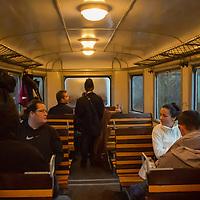 Passengers travel on the Children's Railway in the Buda Hills in Budapest, Hungary on November 15, 2014. ATTILA VOLGYI