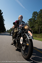 John Landstrom riding his 1928 BMW R62 during Stage 3 of the Motorcycle Cannonball Cross-Country Endurance Run, which on this day ran from Columbus, GA to Chatanooga, TN., USA. Sunday, September 7, 2014.  Photography ©2014 Michael Lichter.