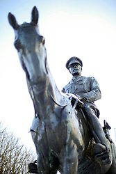 01 February 2019. Montreuil Sur Mer, Pas de Calais, France.<br /> The Statue of Field Marshal Douglas Haig, Commander of the British expeditionary Force on the Western Front in WW1 stands in memory of the British headquarters stationed in the town during the conflict. The ancient citadel town of Montreuil Sur Mer awoke to a blanketing of fresh snow. <br />  <br /> La statue du maréchal Douglas Haig, commandant de la force expéditionnaire britannique sur le front occidental pendant la Première Guerre mondiale, commémore le quartier général britannique stationné dans la ville pendant le conflit.<br /> L'ancienne citadelle de Montreuil Sur Mer s'est réveillée avec une couverture de neige fraîche.<br /> <br /> Photo©; Charlie Varley/varleypix.com