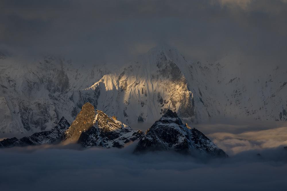 Teng Kang Poche at sunrise from 5600m on Cholatse in Nepal