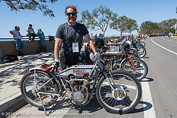 Harley-Davidson Museum Archive Restorer/Conservator Bill Rodencal of Wisconsin with his 1915 Harley-Davidson at the final stop along the Pacific Ocean to regroup just before the finish line of the Motorcycle Cannonball Race of the Century. Stage-15 ride from Palm Desert, CA to Carlsbad, CA. USA. Sunday September 25, 2016. Photography ©2016 Michael Lichter.