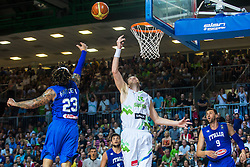 Uros Slokar of Slovenia vs Daniel Hackett of Italy during friendly basketball match between National teams of Slovenia and Italy at day 3 of Adecco Cup 2015, on August 23 in Koper, Slovenia. Photo by Grega Valancic / Sportida