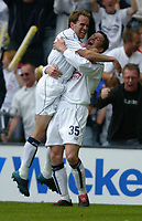 Photo: Chris Brunskill, Digitalsport<br />  Preston North End v Derby County. Play-Off Semi Final 1st Leg. 15/05/2005. David Nugent of Preston is congratulated by team-mate Eddie Lewis after scoring the opening goal.