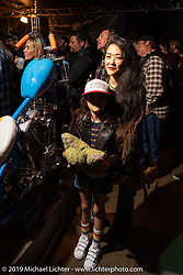 Suzy Pilaczynski with her 1977 custom Harley-Davidson People's Champ Shovelhead at the Born Free pre-party and People's Champ finals at Cooks Corner before the big show. Trabuco Canyon, CA, USA. Friday, June 21, 2019. Photography ©2019 Michael Lichter.CA, USA.