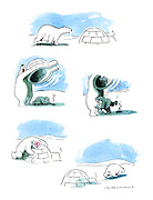 (an encounter between a polar bear and an Eskimo and the Eskimo wins)