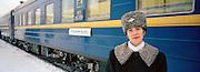 Attendant on the Trans Siberian Railway, Siberia, Russia