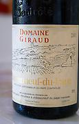 Domaine Giraud, Chateauneuf-du-Pape. Rhone. France Europe. Bottle.