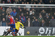 James McArthur of Crystal Palace (L) scores his team's second goal. Premier League match, Crystal Palace v Watford at Selhurst Park in London on Tuesday 12th December 2017. pic by Steffan Bowen, Andrew Orchard sports photography.