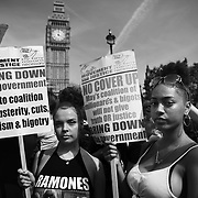 The Day of Rage protest organised by Movement for Justice  went from Shepherdís Bush to Downing Street and Parliament Square June 21st 2017, London, United Kingdom. Hundreds marched protesting against the Government's respond to the Grenfell Tower disaster. The mood was angry but peacefull and ended on Parliament Square green after police made people get of the streets and let traffic re-assume.