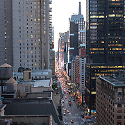 An elevated view looking down 7th Avenue towards Times Square in New York's Midtown.