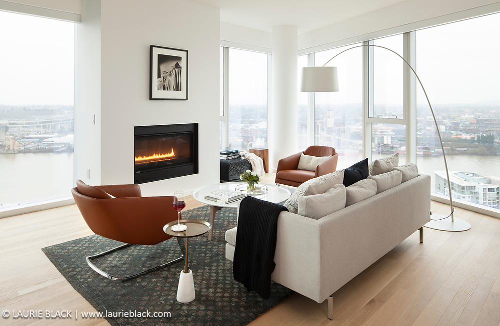 Condo living room with view