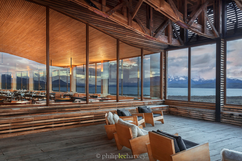 Observation deck at Tierra Patagonia Hotel in Torres del Paine National Park, Chile